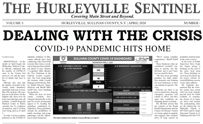 Image: Front Page of the Hurleyville Sentinel, in which Carol Ryan's interview was featured.
